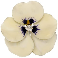 Antique Art Nouveau White Enamel 14 Karat Gold Diamond Pansy Pin by Hedges & Co.