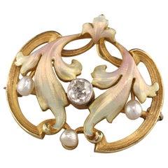 Antique Art Nouveau Whiteside and Blank 18k Gold Enamel Old Mine Diamond Pin