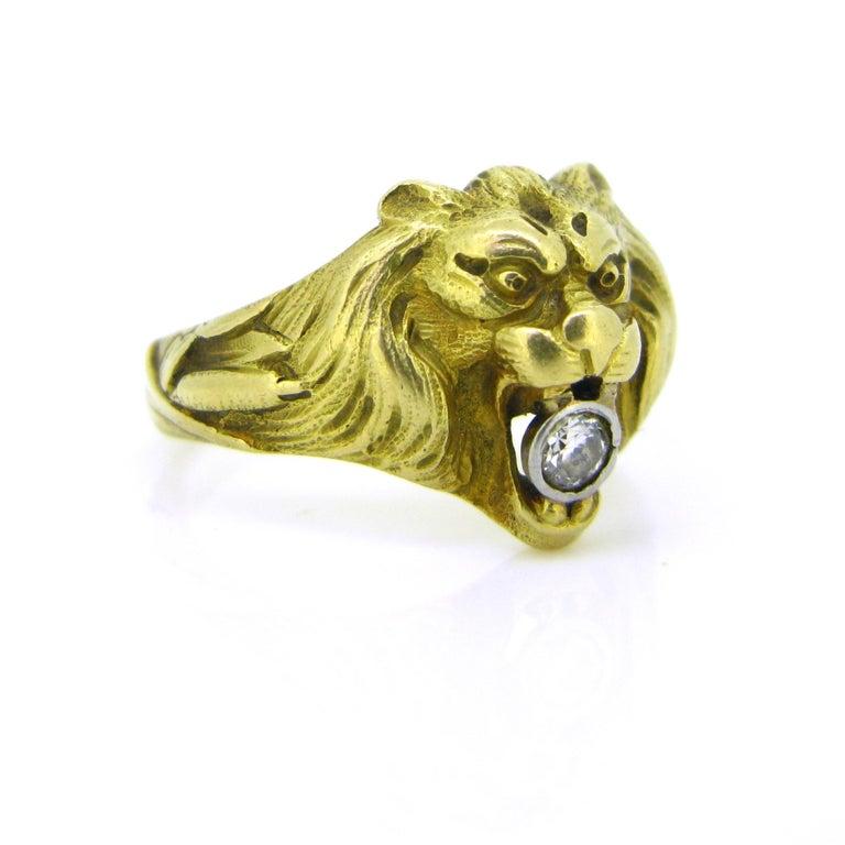 Old Mine Cut Antique Art Nouveau Yellow Gold Platinum Diamond Lion Head Ring For Sale
