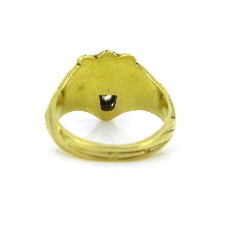 Antique Art Nouveau Yellow Gold Platinum Diamond Lion Head Ring In Good Condition For Sale In London, GB