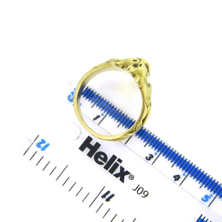 Antique Art Nouveau Yellow Gold Platinum Diamond Lion Head Ring For Sale 1
