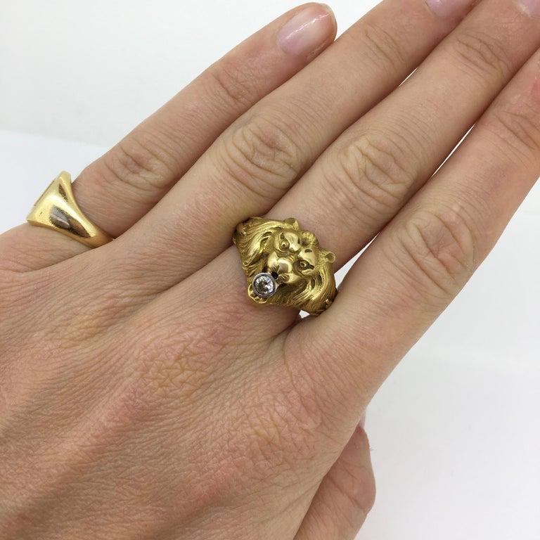 Antique Art Nouveau Yellow Gold Platinum Diamond Lion Head Ring For Sale 2