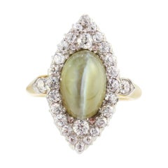 Antique Art Noveau 18kt Yellow Gold Ring with Cat's Eye Chrysoberyl and Diamonds