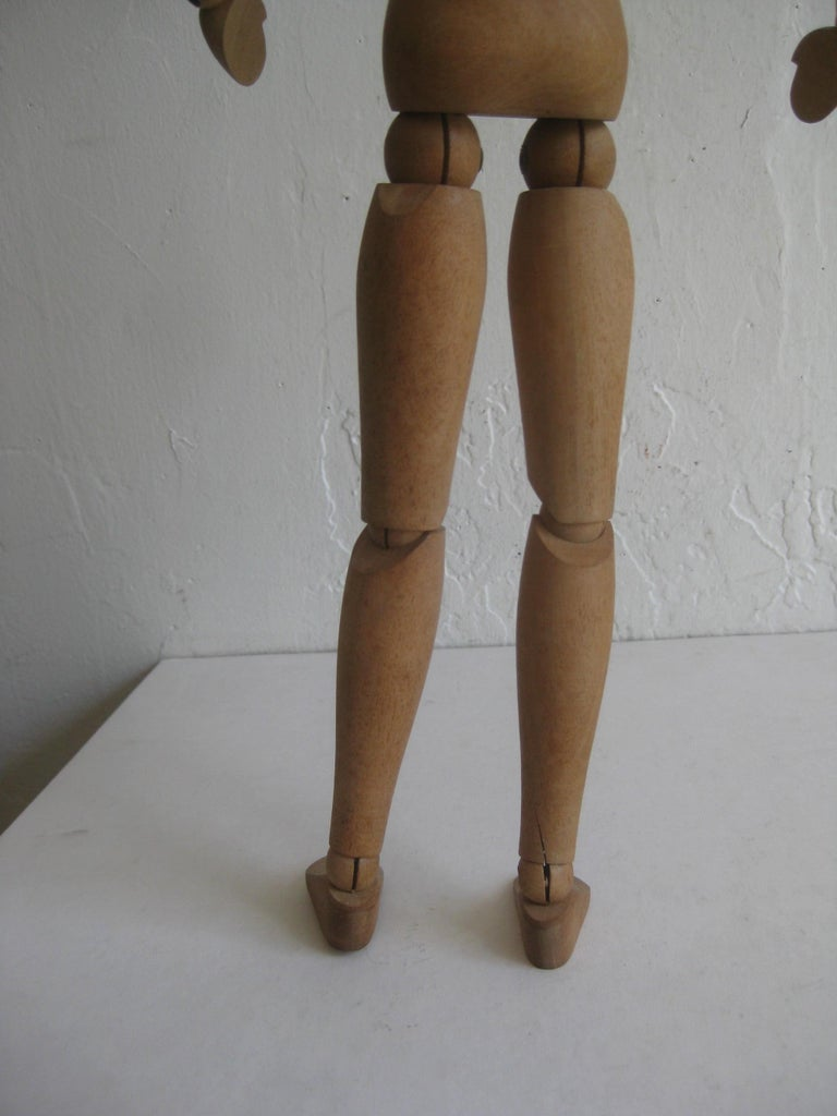 Antique Articulated Wood Nude Artist Figural Model Sculpture Statue For Sale 4