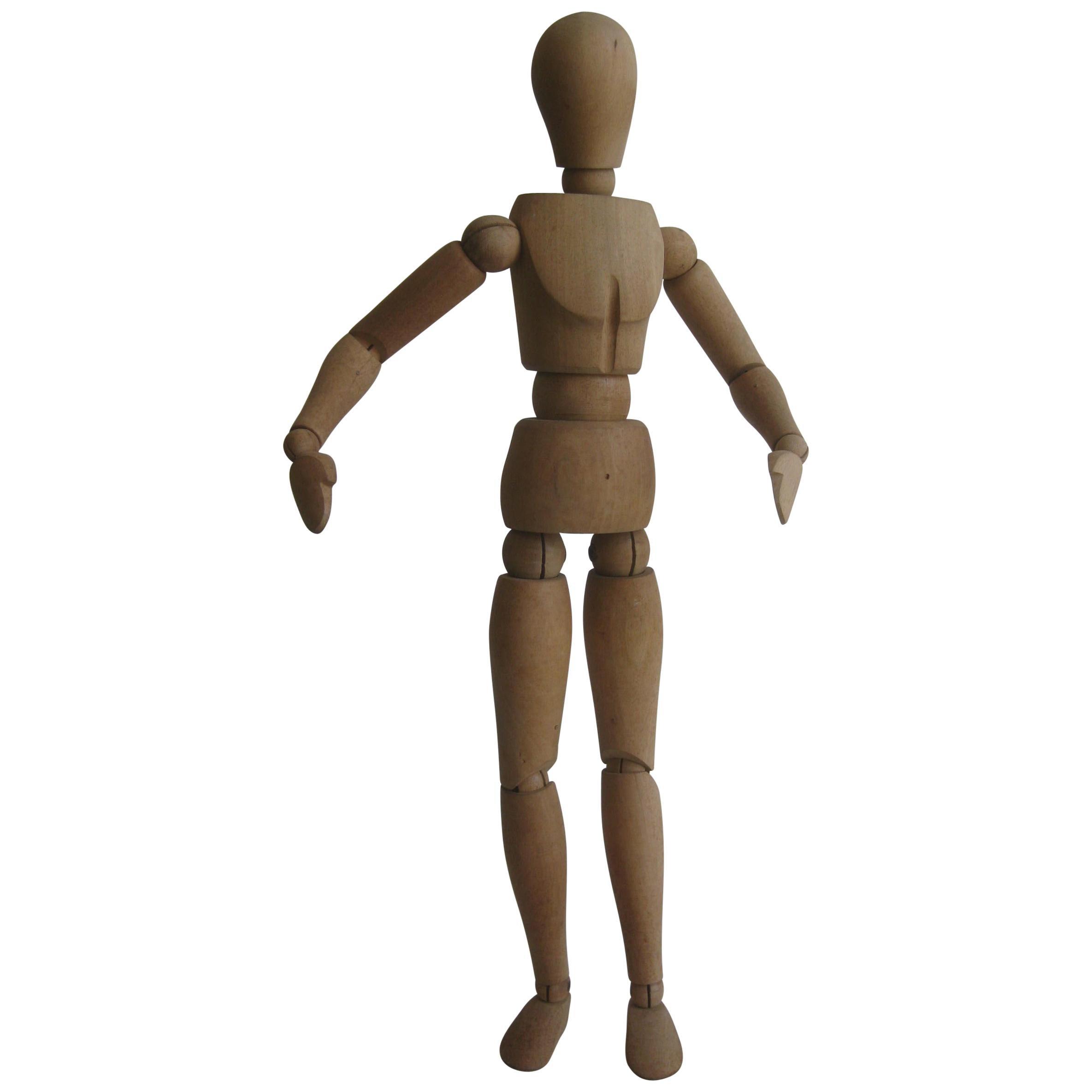 Antique Articulated Wood Nude Artist Figural Model Sculpture Statue