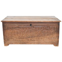 Antique Artisan Blanket Chest Storage Trunk Solid Wood with Relief Carvings