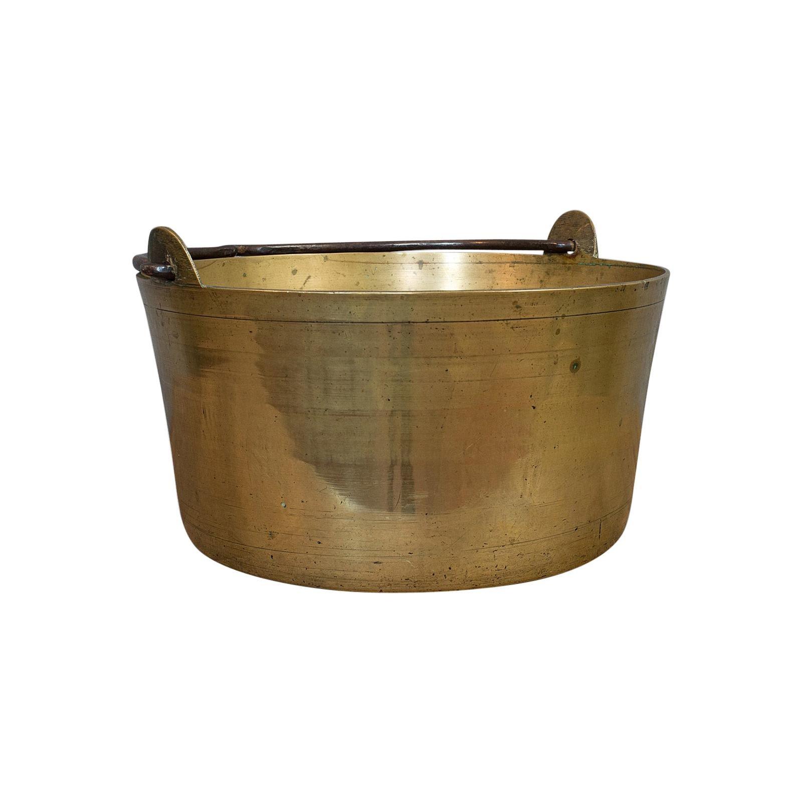 Antique Artisan Jam Pan, French, Solid Brass, Kitchen Pot, Victorian, circa 1900