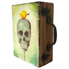 Antique Artist Box with Skull with Lemon Painting