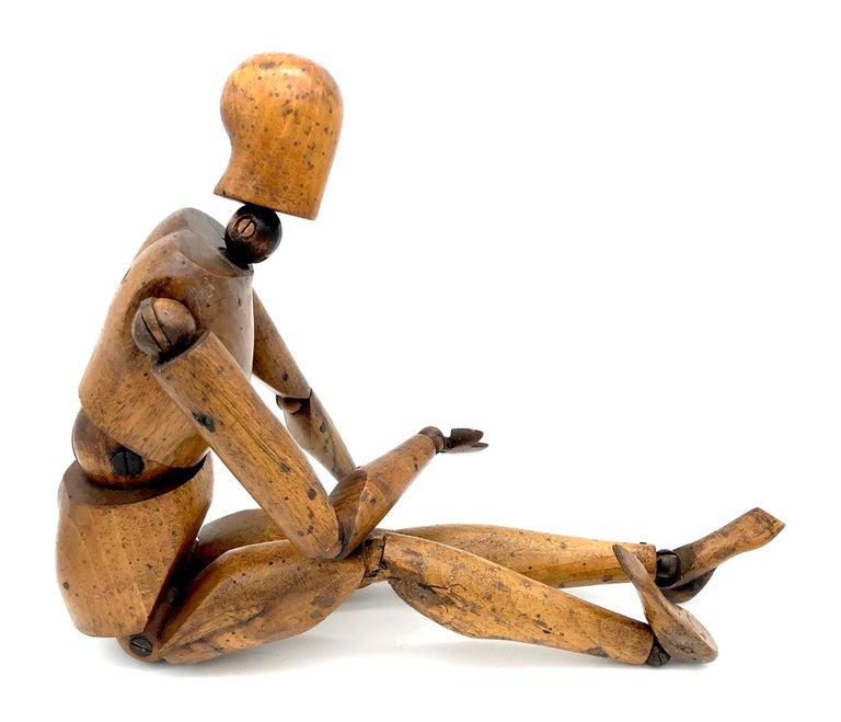 French Antique Artist Mannequin Wood Figure Sculpture, France For Sale