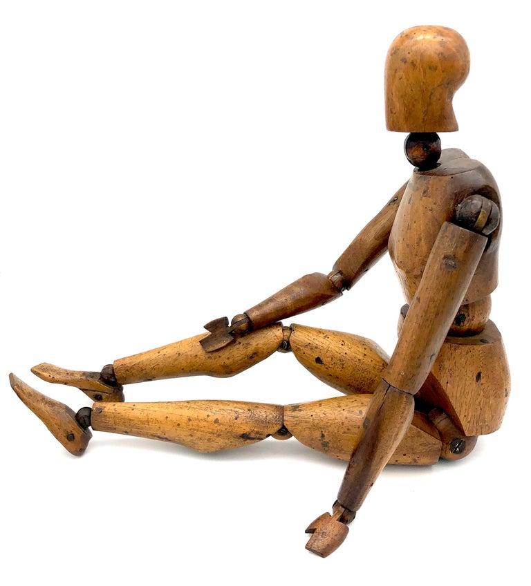 Carved Antique Artist Mannequin Wood Figure Sculpture, France For Sale