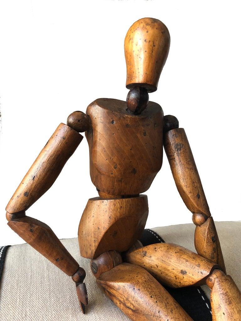 Belle Époque Antique Artist Mannequin Wood Figure Sculpture, France For Sale
