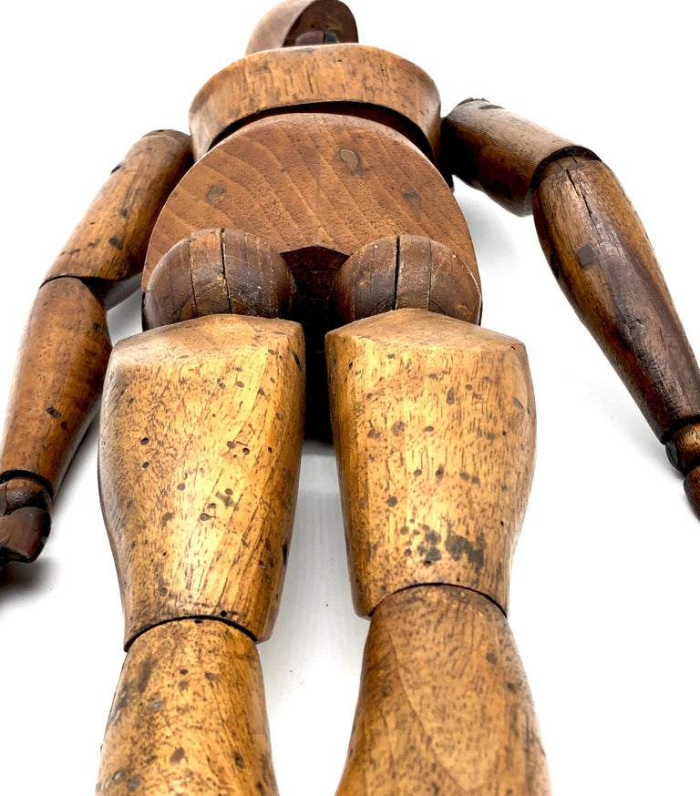 Late 19th Century Antique Artist Mannequin Wood Figure Sculpture, France For Sale