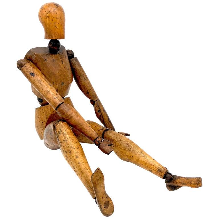 Antique Artist Mannequin Wood Figure Sculpture, France For Sale