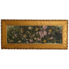 Artist Signed Wild Roses Oil on Canvas Floral Still Life, Wilder, 19th Century
