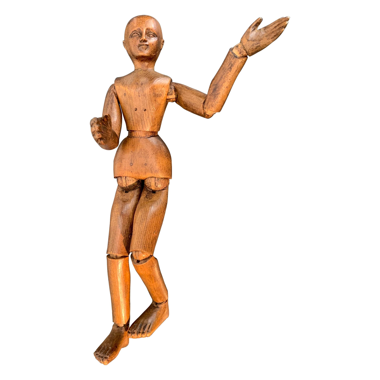 Antique Artists Mannequin Walnut, France