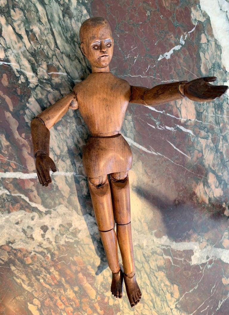 Belle Époque Antique Artist's Mannequin Wood, France For Sale