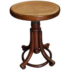 Antique Arts & Crafts Bentwood & Webbing Seat Stool by Thonet, Kohn or Fishel