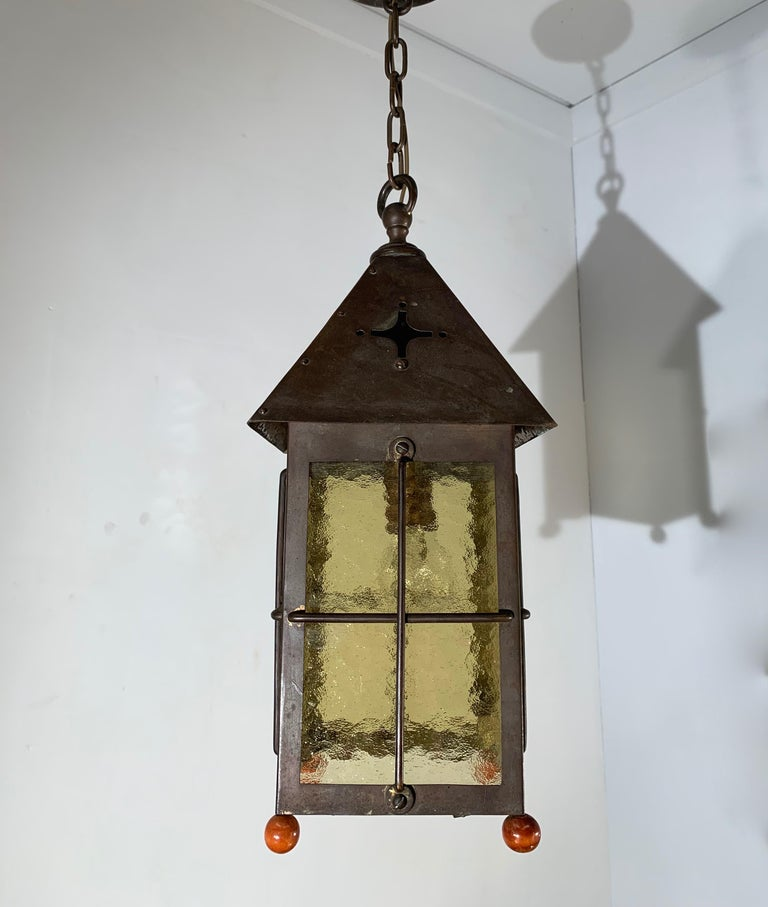 Antique Arts & Crafts Brass and Cathedral Glass Lantern or Pendant or Hall Light For Sale 3