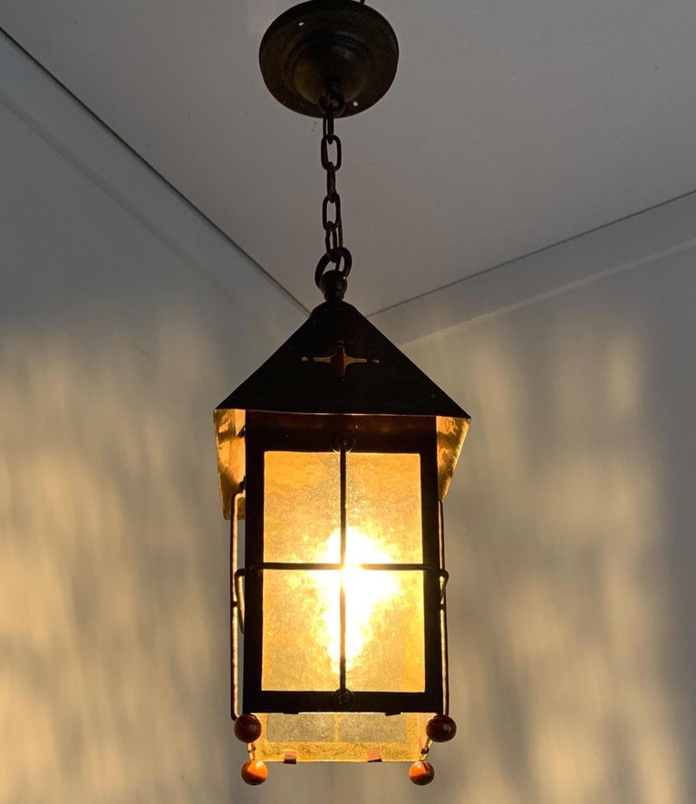 Antique Arts & Crafts Brass and Cathedral Glass Lantern or Pendant or Hall Light For Sale 4
