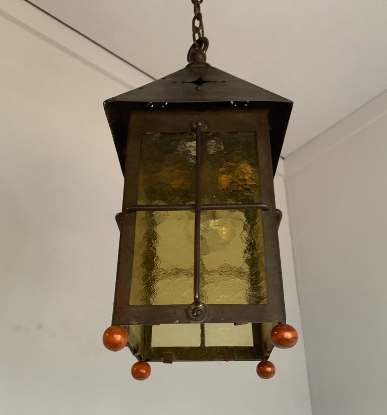Antique Arts & Crafts Brass and Cathedral Glass Lantern or Pendant or Hall Light For Sale 6