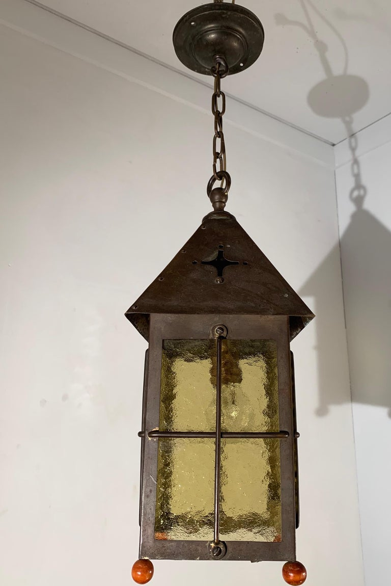 Antique Arts & Crafts Brass and Cathedral Glass Lantern or Pendant or Hall Light For Sale 7