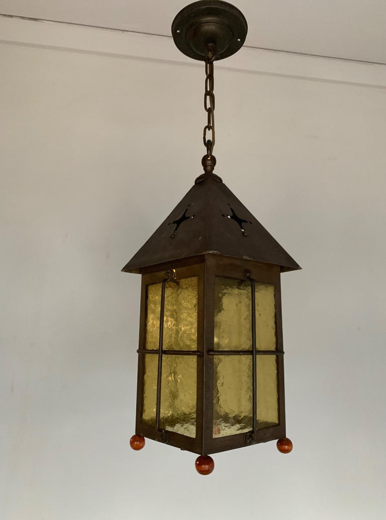 Antique Arts & Crafts Brass and Cathedral Glass Lantern or Pendant or Hall Light For Sale 8