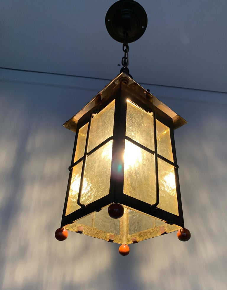 Antique Arts & Crafts Brass and Cathedral Glass Lantern or Pendant or Hall Light For Sale 9