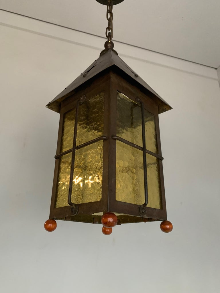 Antique Arts & Crafts Brass and Cathedral Glass Lantern or Pendant or Hall Light For Sale 10