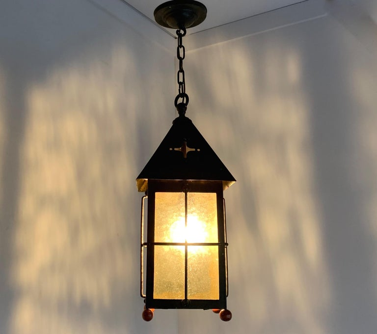 Antique Arts & Crafts Brass and Cathedral Glass Lantern or Pendant or Hall Light For Sale 11