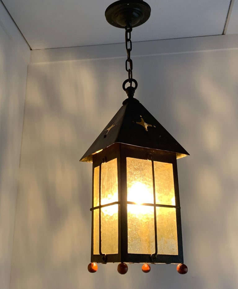 Antique Arts & Crafts Brass and Cathedral Glass Lantern or Pendant or Hall Light For Sale 12