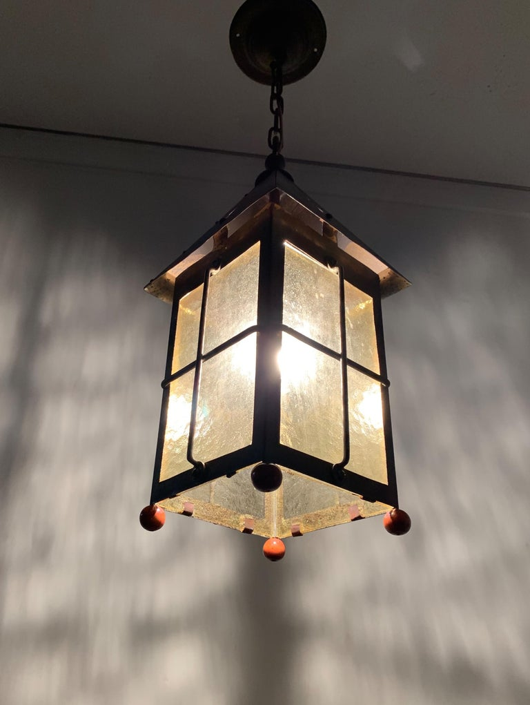 Antique Arts & Crafts Brass and Cathedral Glass Lantern or Pendant or Hall Light For Sale 13