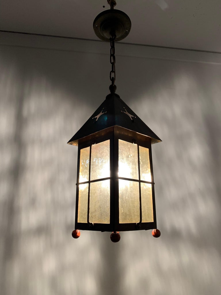 Arts and Crafts Antique Arts & Crafts Brass and Cathedral Glass Lantern or Pendant or Hall Light For Sale