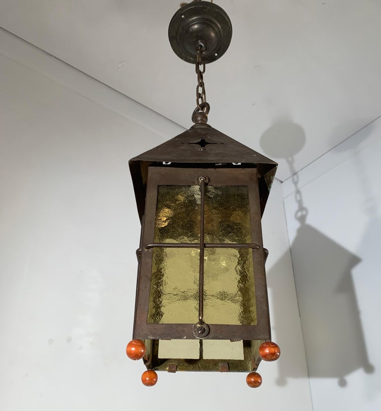 Dutch Antique Arts & Crafts Brass and Cathedral Glass Lantern or Pendant or Hall Light For Sale