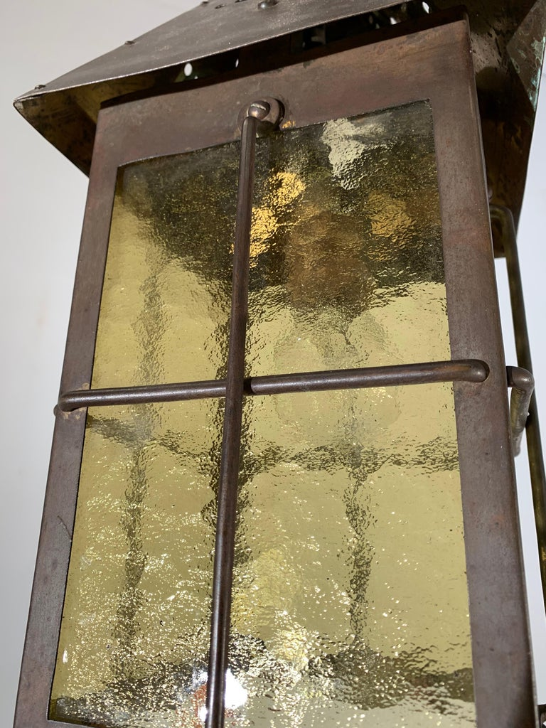 Antique Arts & Crafts Brass and Cathedral Glass Lantern or Pendant or Hall Light For Sale 2