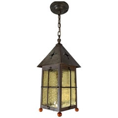 Antique Arts & Crafts Brass and Cathedral Glass Lantern or Pendant or Hall Light