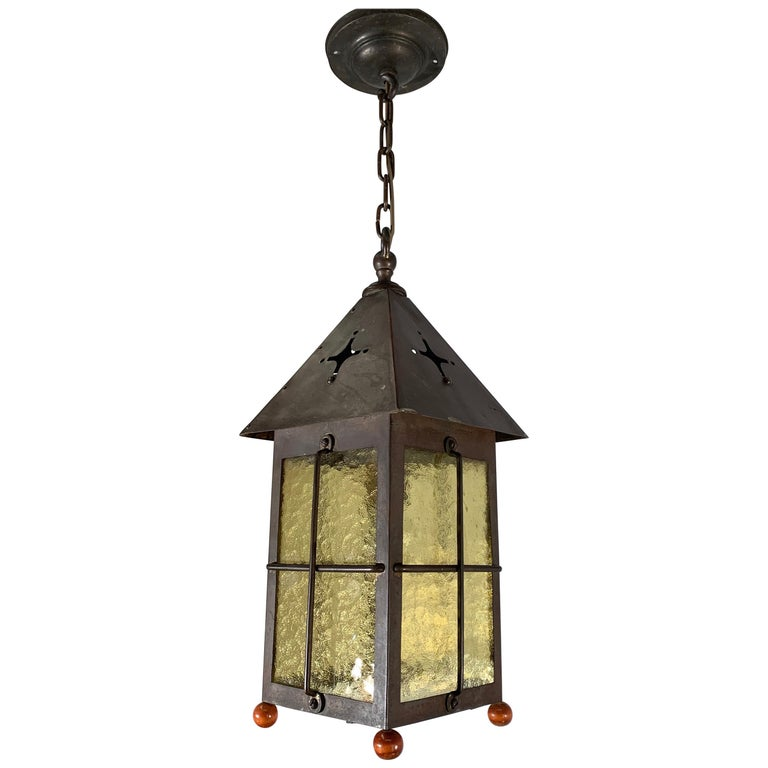 Antique Arts & Crafts Brass and Cathedral Glass Lantern or Pendant or Hall Light For Sale