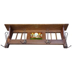 Antique Arts & Crafts Coat Rack with Majolica Glazed, Stylized Lotus Flower Tile