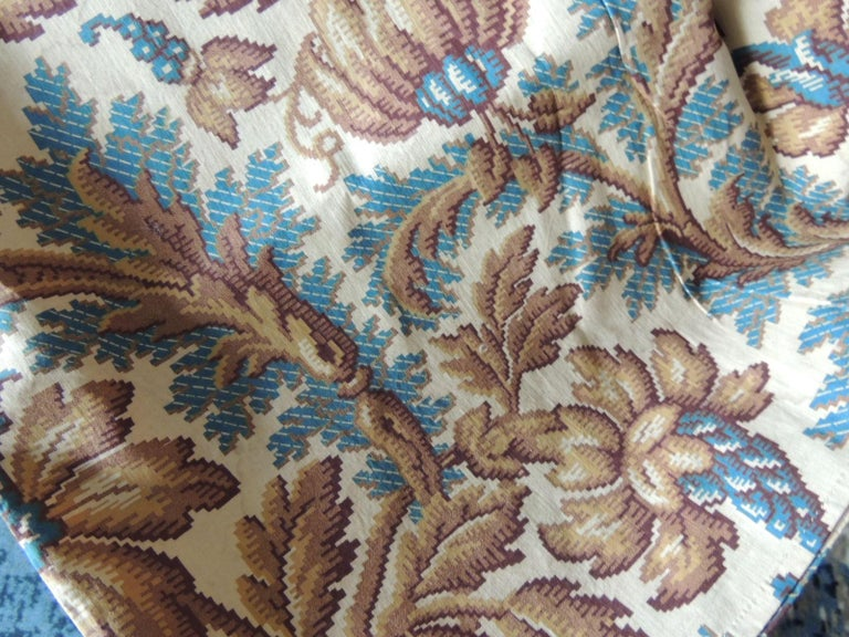 Antique Arts & Crafts printed floral textile panel. Large floral pattern in gold and blue over and oyster background. Ideal for pillows, upholstery, slipcovers, window shades or curtains. Size: 64