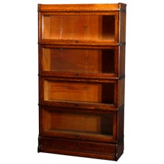 Antique Arts & Crafts Style Oak 4 Stack Barrister Bookcase by Macey, circa 1910