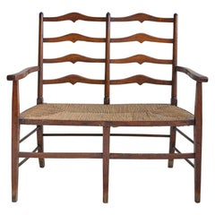 Antique Arts & Crafts Two-Seat Bench in Oak and Seagrass, England, 1860s