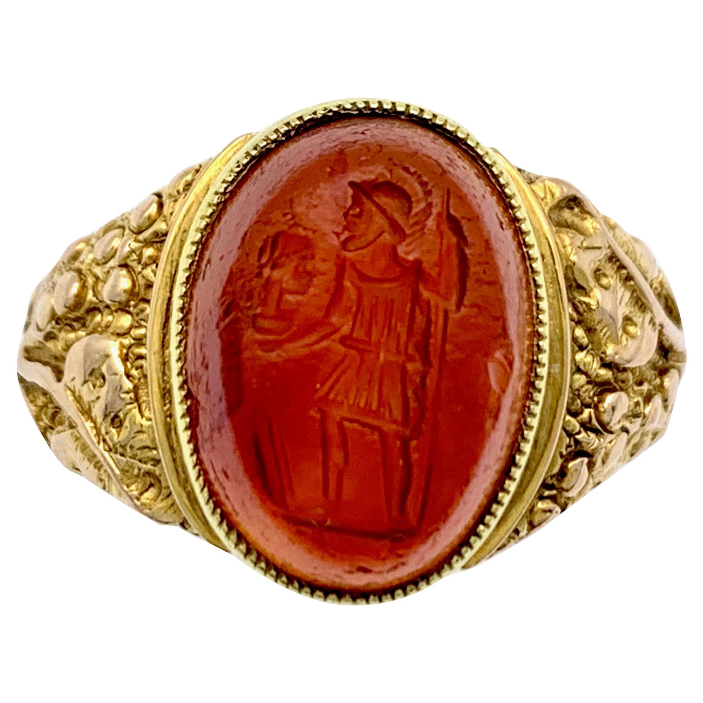 Antique Roman Intaglio in  English Arts & Crafts 9 Karat Gold Setting
