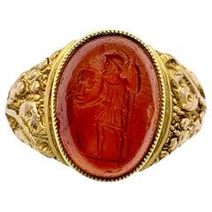Antique Arts & Crafts 9 Karat Gold Ring Oval Roman Carnelian Agate Intaglio