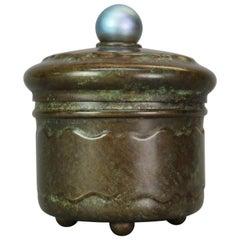 Antique Arts & Crafts Art Glass & Bronze Lidded Jar after Tiffany, 1910
