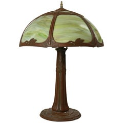 Antique Arts & Crafts Bent Slag Glass Table Lamp by Bradley & Hubbard circa 1920