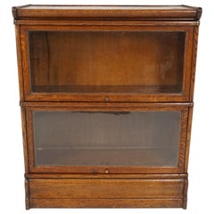 Antique Arts + Crafts Bookcase, Mission Oak Barrister, Scotland 1910, B2425
