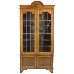 Antique Arts & Crafts Bookcase, Oak Bookcase, Leaded Glass, Antiques, B1203