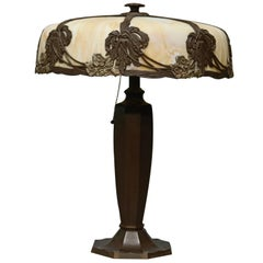 Antique Arts & Crafts Bradley & Hubbard Curved Slag Glass Table Lamp, circa 1920