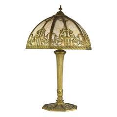 Antique Arts & Crafts Bradley & Hubbard School Filigree Slag Glass Lamp, c1910