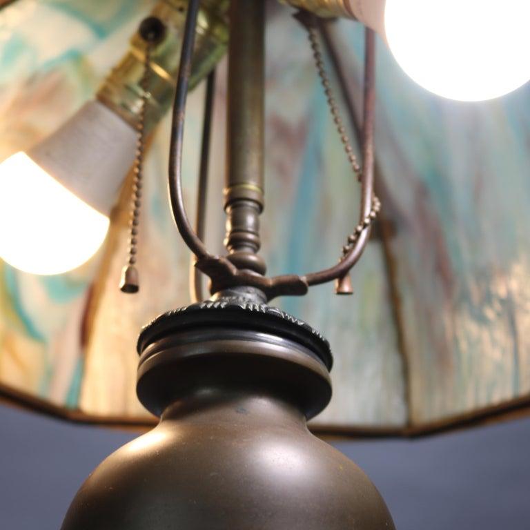 Antique Arts & Crafts Bradley & Hubbard School Slag Glass Table Lamp, c 1920 For Sale 5