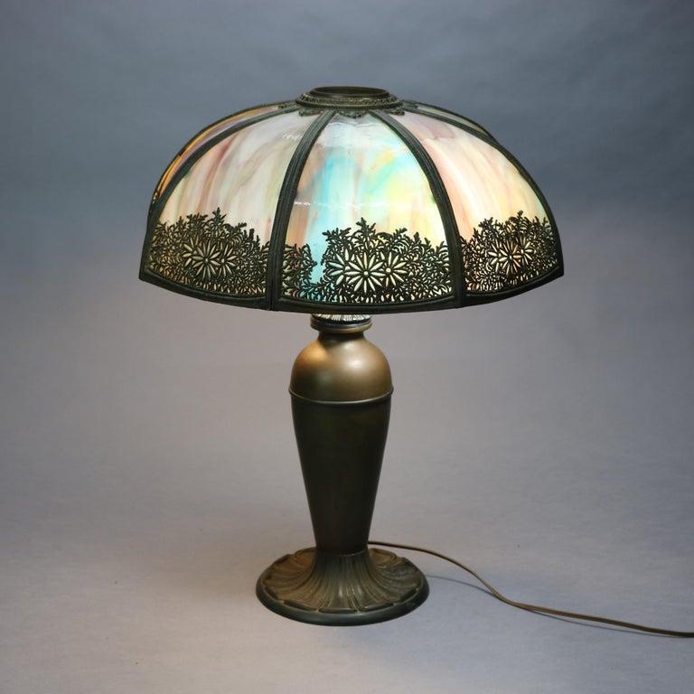 American Antique Arts & Crafts Bradley & Hubbard School Slag Glass Table Lamp, c 1920 For Sale